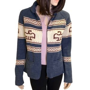 Bluenotes Aztec Eagle Zippered Cardigan Size Large